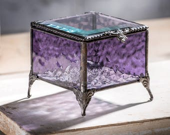 Purple Glass Jewelry Box Stained Glass Keepsake Box Wedding Bridesmaid Gift for Her Vintage Home Decor Trinket Box Gift for Teen Box 836