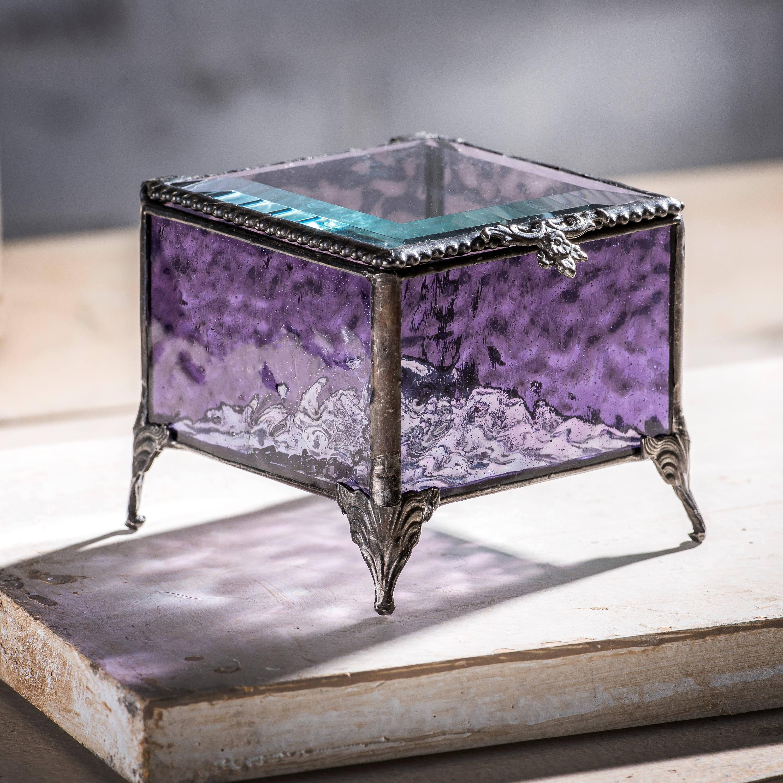 Purple Glass Jewelry Box Stained Glass Keepsake Box Wedding