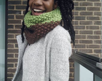 Chunky Hand Knit Cowl Snood, Knitted Scarf - Earth Tone