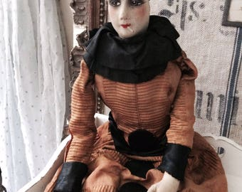 Stunning Pierrot doll antique colombine,pierrette, charmant, ca 1900,rare,boudoirdoll