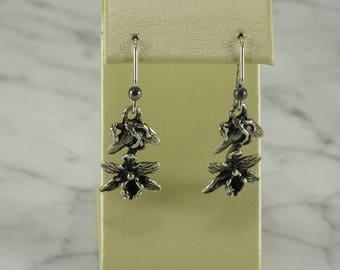 Sterling Silver Orchid Dangle Earrings (pierced)