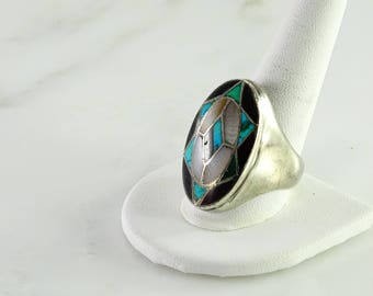 Inlaid Southwest Style Ring Size 12 Signed HN