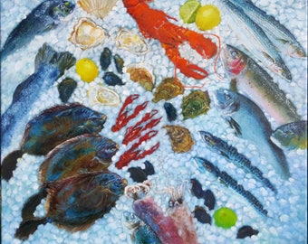"""Original hand painted oil painting - Seafood Bliss- made by Sarmite Alksne size 20""""x24"""""""