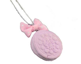 OREO - Necklace pink Oreo - gourmet necklace - long beaded necklace - polymer clay necklace - girl gift