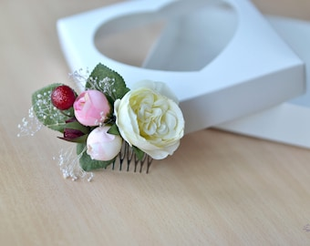 Ivory pink Flower comb Wedding flowers accessories Bridal floral comb Rose David Austin hair Bridesmaids combs Ivory silk rose comb