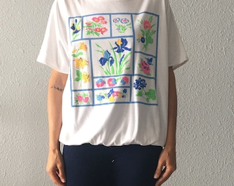 Vintage Floral Neon Puff Painted 1980's 80's Butterfly Floral T Shirt