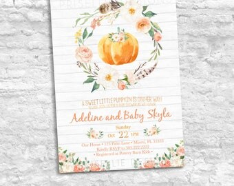 Pumpkin Baby Shower Invitation, Boho Fall Little Pumpkin Baby Shower Invitation, Rustic Pumpkin Baby Shower Invitation Girl