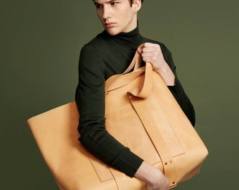 HAERRA Weekender Leather Bag Natural