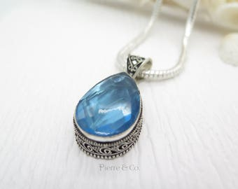 Antique Tear Drop Blue Topaz Sterling Silver Pendant and Chain