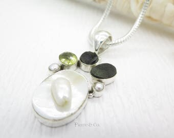 Mabe Pearl Citrine and Drusy Sterling Silver Pendant and Chain
