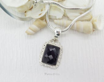 Antique Amethyst Sterling Silver Pendant and Chain