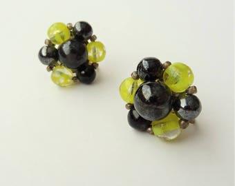 1960's Black & Yellow Glass Bead Screw Back Earrings, Bead Earrings, Floral Bead Earrings, Stud Earrings, Flower Jewellery, Made In Germany