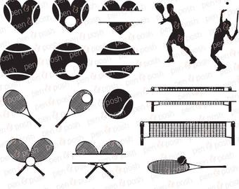 Tennis SVG - Tennis Monogram Svg - Tennis Clipart - Tennis Heart SVG - Tennis Racquet Svg - Tennis Silhouette - Tennis Ball