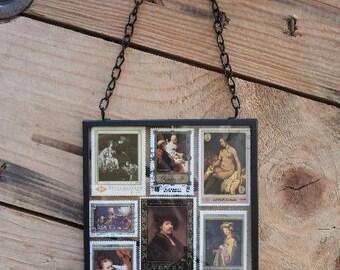 Framed stamp Dutch Rembrandt van Rijn wall art - Dutch gift - stamped art - Netherlands gift for expat