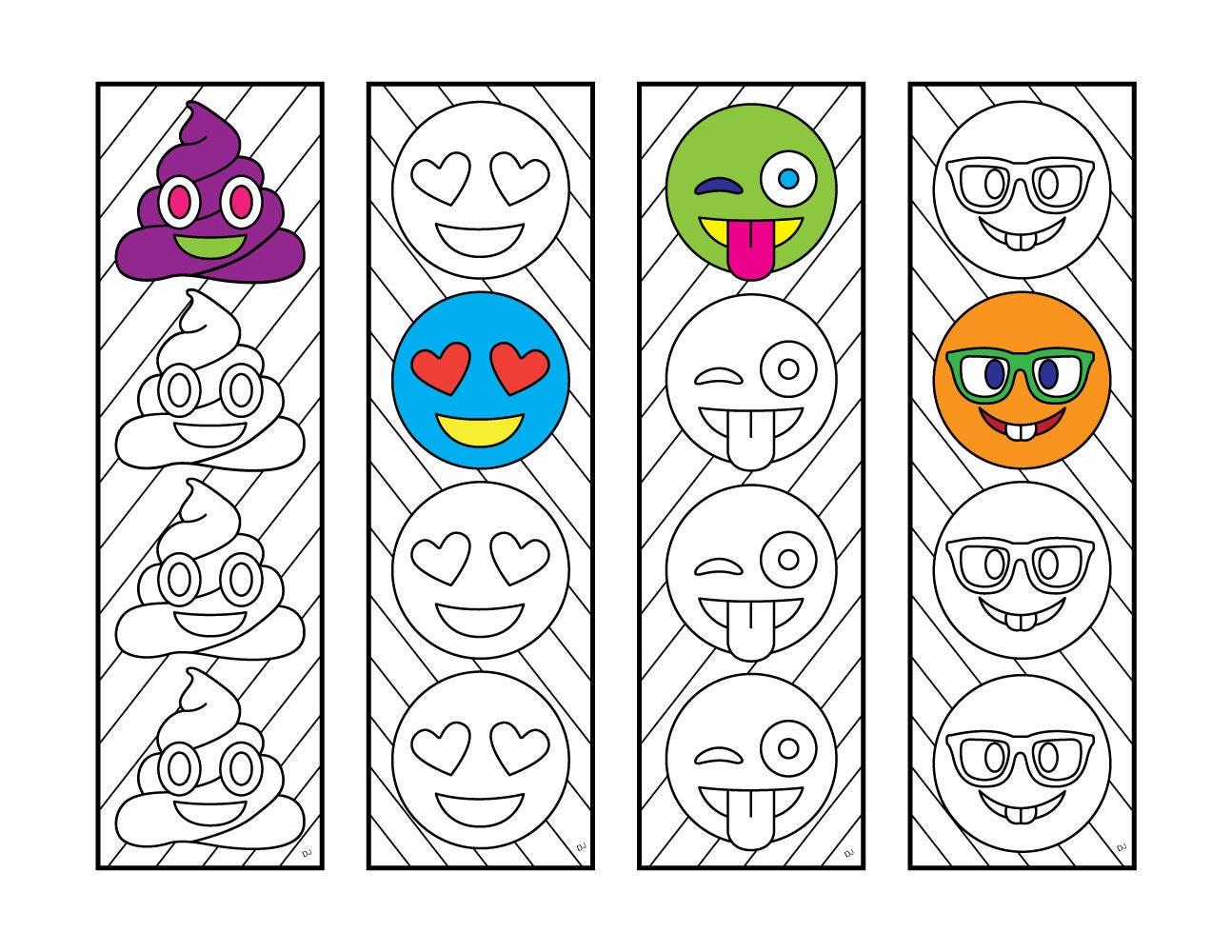 Emoji Bookmarks PDF Zentangle Coloring