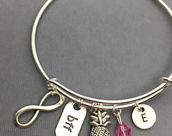 Bangle Bracelet, BFF Bangle, Friendship Bangles, BFF Charm Bracelet, Cousin Jewelry, Custom, Personalized, Initial, Cousin Distance Gift