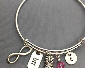 Bangle Bracelet, BFF Bangle, Friendship Bangles, BFF Charm Bracelet, Cousin Jewelry, Custom, Personalized, Initial, Cousin Distance Gift
