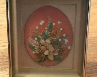 Vintage Miniature Dry Flowers inside a Picture Box Hand Made Home Decor