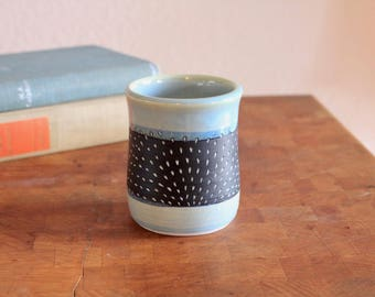 Carved porcelain Sunrise cup in Mint. Coffee cup, tea cup, tumbler, whiskey glass, mug.