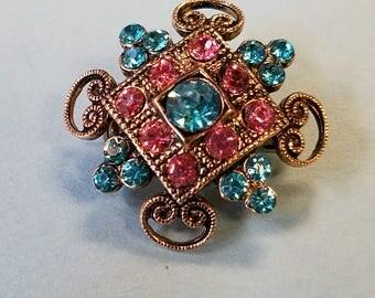 Vintage Coro Rhinestone Pin, Vintage Coro rhinestone brooch, Coro brooch, Coro pin