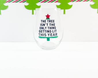Christmas Wine Glass - Christmas Party - Office Christmas Party - Stemless Wine Glass - Funny Christmas Wine Glass - White Elephant Gift