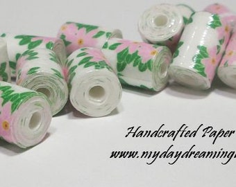 Lot 20 Handmade Tube Paper Beads Light Pink Flowers & Green Leaves Jewelry Necklace Bracelet Earring Craft Macrame Supplies Made In Maine