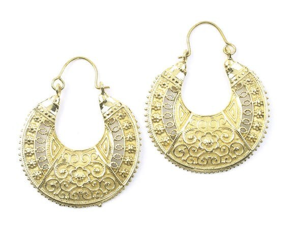 Banepa Earrings, Ornate Ethnic Earrings, Tribal Brass Earrings, Festival Earrings, Gypsy Earrings, Hoop Earrings