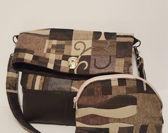 Folded bag, foldover top, handbag, handmade with makeup bag