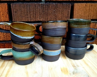 Espresso cups. Ceramic black clay ccups