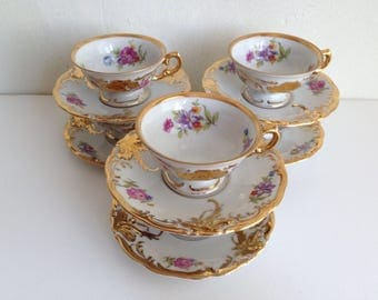 KPM Demitasse Floral Gold Cups and Saucer