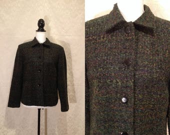 1990s Rainbow Green Woven Confetti Tweed Button Up Collared Fall Winter Jacket Coat Shoulder Pads Minimalist Grunge Granny M-L