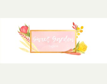 Sweet Garden Premade Blog Header   Watercolor   Flowers