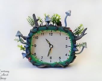 Fantasy forest watch Handmade clock Mushrooms alarm clock Floral vegetable item Elven watch