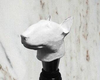 Bull Terrier Bottle Stopper, White