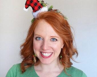 plaid santa hat headband, christmas headband adult, headband for women, mini christmas hat adult, gift for nature lover, rustic Christmas