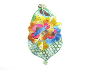 Antique Silk Flower Basket Applique Vintage Floral Patch Sewing Supply Crazy Quilt. #6A8G43KB