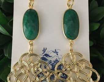 GOLD and GREEN Emerald Knot Earrings | lightweight, gold, post earrings, statement earrings, Designs by Laurel Leigh