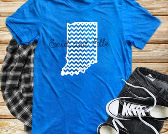 Indiana shirt, Indiana chevron shirt, Red Indiana shirt, Home shirt, Indiana outline,  Made by Enid and Elle