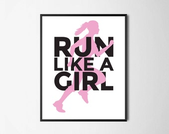 Printable Wall Art | Run Like A Girl | Instant Download