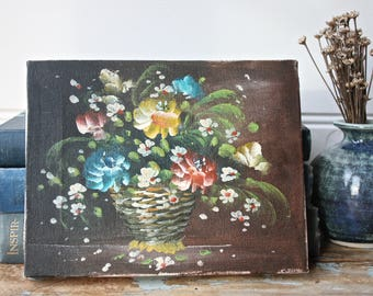Old Petite Floral Bouquet Oil Painting Artwork Vintage Gallery Wall Flowers