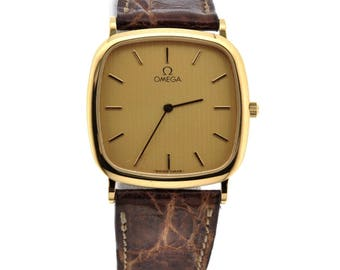 Omega Men's Stainless Steel Leather Band Watch, Vintage Omega Mens Watch, Antique Omega Watch