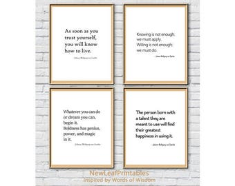 Printable Johann Wolfgang von Goethe quote, inspirational quote,set of 4 prints,Printable Wall Art Print,Instant Download,digital download