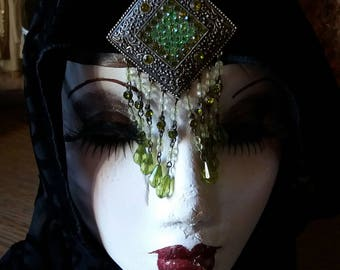 Green exotic large brooch for the goth or gypsy fortune teller