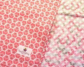 Organic Baby Blanket,  Oversized Swaddler, Toddler Blanket, Handmade, Pink, Owls, Organic Bedding, Girl