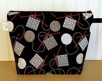 Knitting Project Bag, Knitting Zippered Bag, Knitting Bag, Project Bag, Project Bag Zipper, Yarn Bowl,Yarn Tote, Gift for Knitter