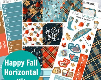 Horizontal Happy Fall Planner Sticker Kit (Stickers for Erin Condren Life Planners)