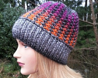 Unique handmade knitted hat. Women Hat. Handmade knit Hat. Multicolored Beanie.