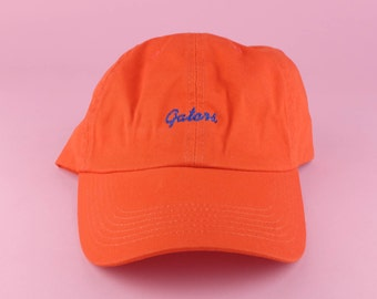 GATORS Hat - Blue Orange Embroidered Dad Hat - University Of Florida -  Polo Hat - Curved Brim Six Panel Fabric Strap Hat - Brand New