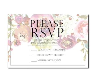 Floral Formal wedding rsvp, Formal printable wedding rsvp, script wedding RSVP, RSVP printable floral wedding
