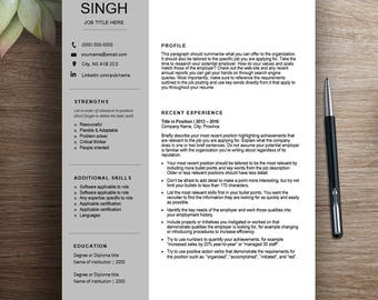 Professional resume template / cv template | Chronological resume, two page resume, modern resume, creative resume, curriculum vitae